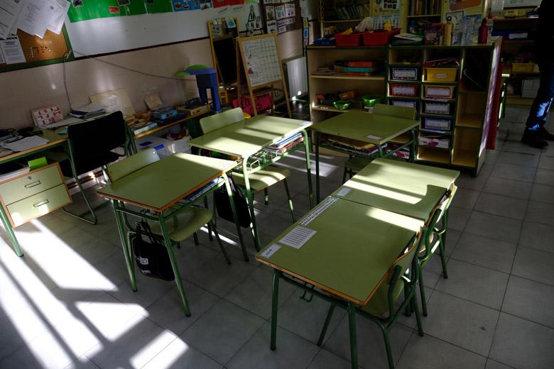 L'aula de l'escola rural de Los Olmos.