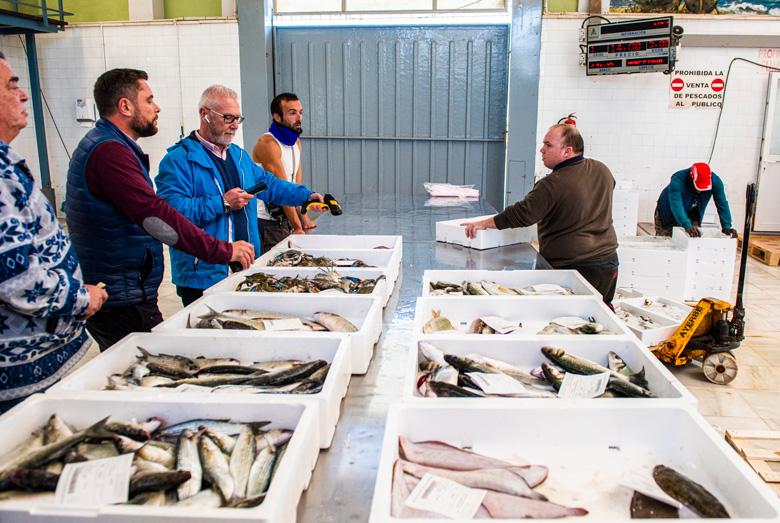 Los compradores (pescaderos y restauradores) durante la subasta del pescado en la Cofradía de San Pedro del Pinatar, menos concurrida que antes de la crisis en el Mar Menor.