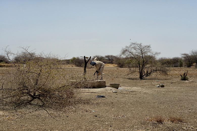 Un home recollint aigua en un pou envoltat per terres de cultiu notablement castigades per la sequera