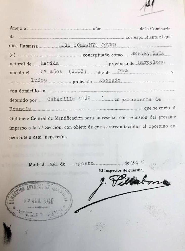 La fitxa que es va obrir quan Companys va entrar a la direcció general de Seguretat a Madrid, procedent de França, el 29 d'agost del 1940