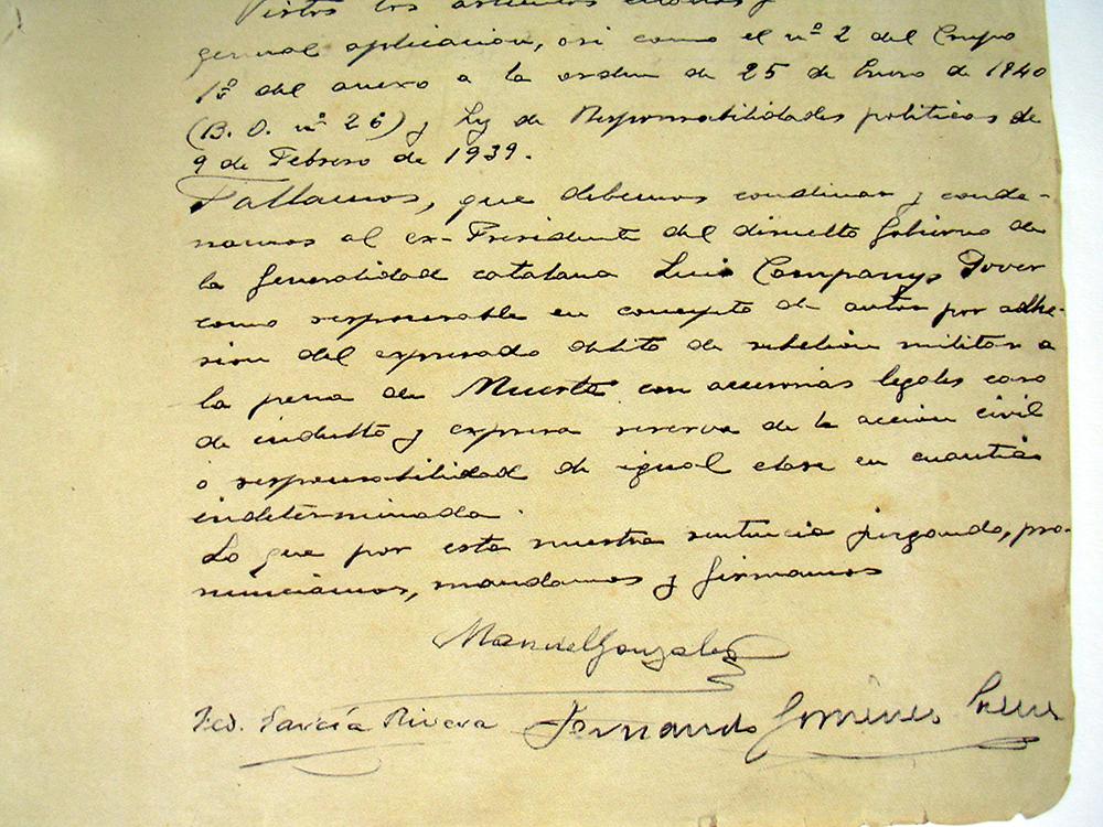 La sentència que va condemnar a mort Lluís Companys